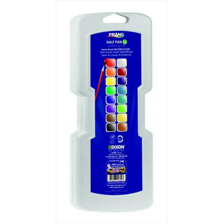 Prang 001350 Non-Toxic Semi-Moist Wax-Free Watercolor Paint Set, Plastic Half Rectangular Pan, Assorted Color, Set - 16