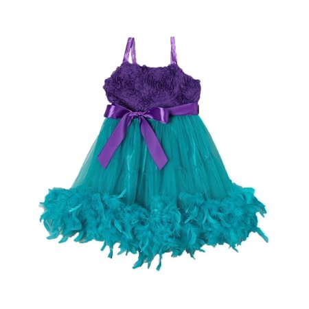 Little Girl Turquoise Purple Feathers Bow Frilly Mermaid Dress L(4-7)