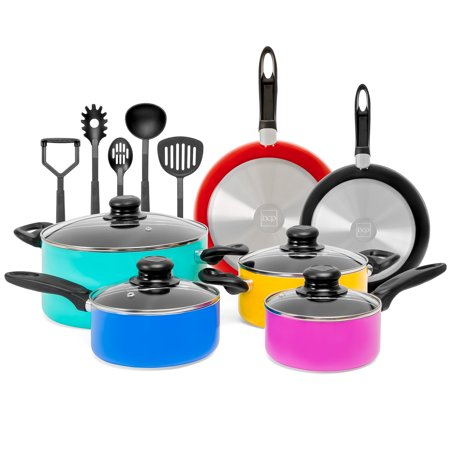Bent Pot - Best Choice Products 15-Piece Nonstick Aluminum Stovetop Oven Cookware Set for Home, Kitchen, Dining with 4 Pots, 4 Glass Lids, 2 Pans, 5 BPA Free Utensils, Nylon Handles, Multicolor