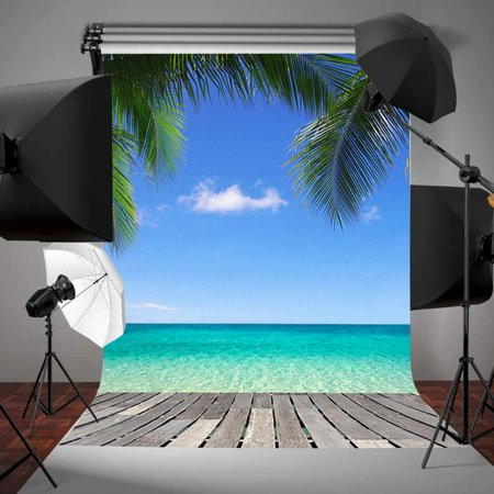 3X5ft Vinyl Photography Background Backdrops Beach Blue Sky Tree Seaside Scenic For Studio Photo Prop