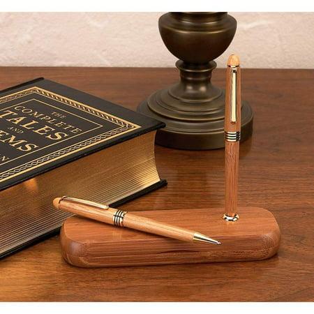 Alex Navarre™ Durable Bamboo Ballpoint Pen and Pencil Set
