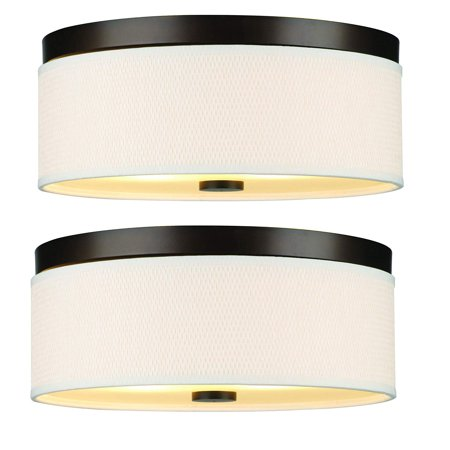 Philips Forecast 60W Cassandra Ceiling Light w/ Natural Shade, Bronze (2 Pack) (Forecast Flush)