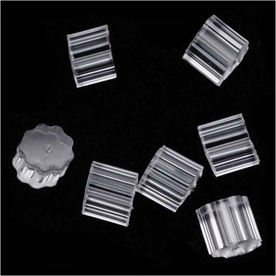 Rubber Earring Backs Safety For Fish Hook Earrings 3x3mm 100 Pieces Clear