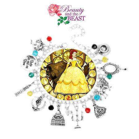 Disney Beauty and the Beast Charm Bracelet Movie Series Jewelry Multi Charms - Wristlet - Superheroes Brand Movie