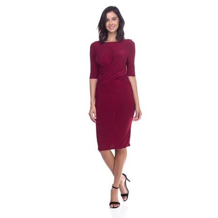 OFASHIONUSA Women's  3/4 Sleeves Sheer Spandex Front Twist Dress