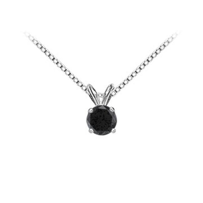 FineJewelryVault UBPD14WH4RD150BD-101 14K White Gold : Round Black Diamond Solitaire Pendant - 1. 50 CT.  TW.