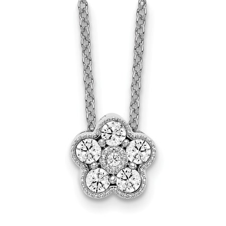 14k White Gold True Origin Lab Grown Diamond VS1/VS2, D E, Floral Pendant Necklace