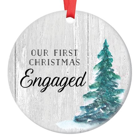 Engagement Gifts, Our First Christmas Engaged Ornament Rustic Couple Newlywed Our 1st Xmas Farmhouse Barn Wood 3