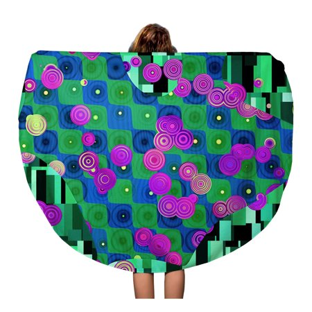 JSDART 60 inch Round Beach Towel Blanket Blue Abstractionism Abstract Pattern in Gustav Klimt Green Annulus Travel Circle Circular Towels Mat Tapestry Beach Throw - image 2 de 2