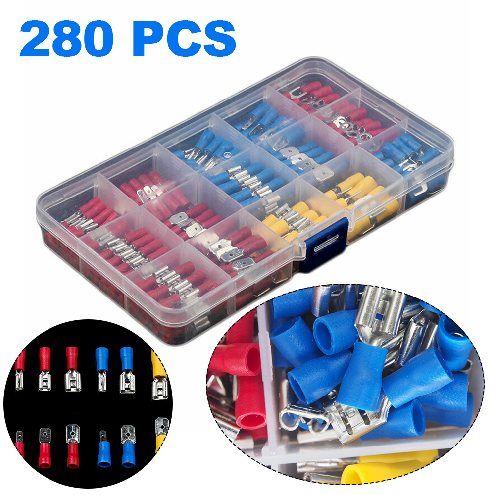 280Pcs Electrical Cable Wire Connectors Assorted Insulated Crimp Terminals Spade