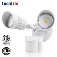 LEONLITE 20W Motion-Activated LED Outdoor Security Light with Photocell, ETL & DLC Listed Security Lights, 3 Lighting Modes, 5000K Daylight, White