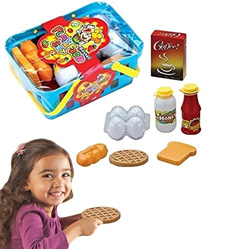 Christmas Gift Pretend Play Food Basket Set - 10 Piece Learning Resource Breakfast and Lunch Play Food Basket Set Educational Toy For Kids Children Toddlers