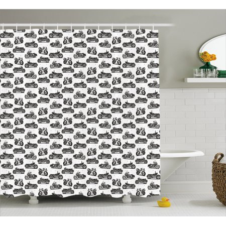 Motorcycle Shower Curtain Retro Drawings Of Old Fashioned And Modern On White Background