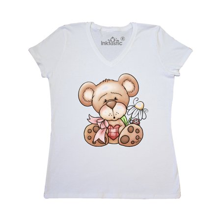 Teddy Bear Ladybug Daisy Flower Women's V-Neck T-Shirt