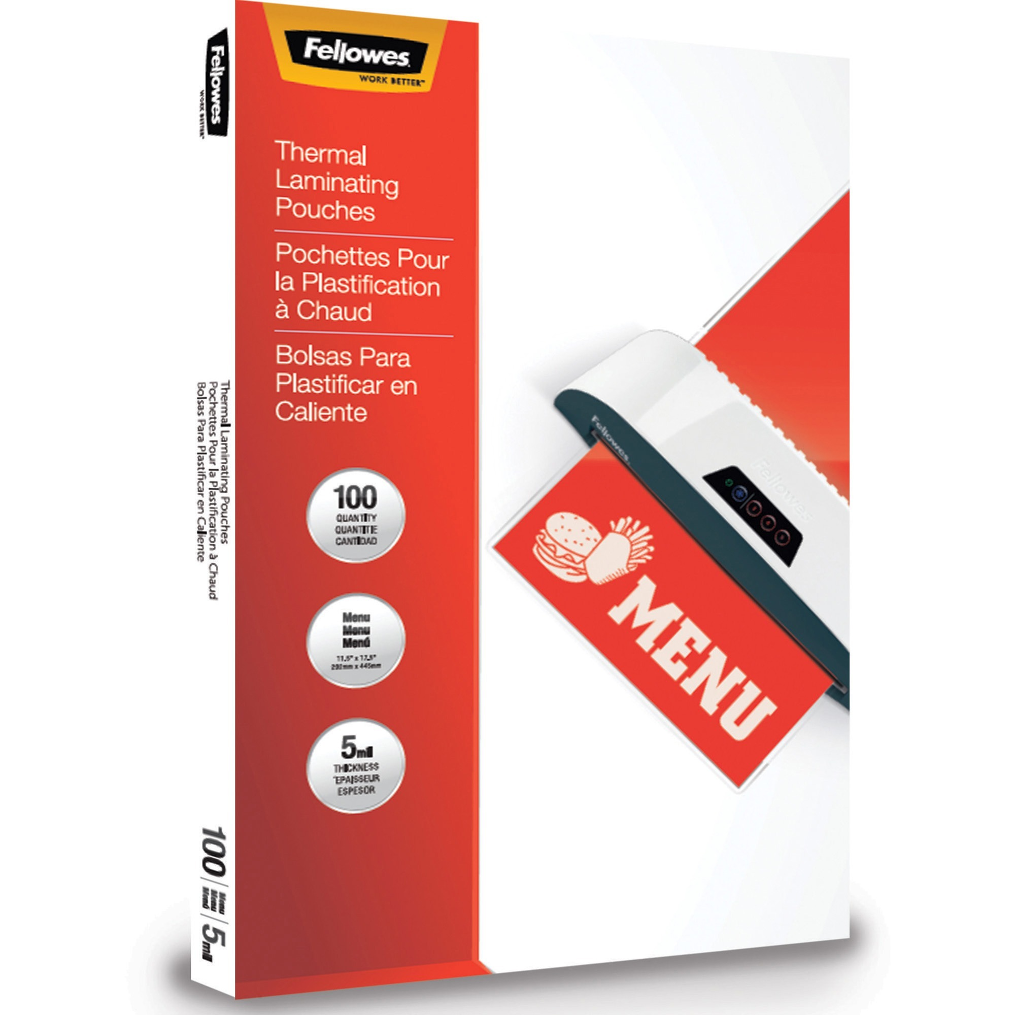 Fellowes, FEL5746001, Thermal Laminating Pouches - Menu, 5mil, 100 pack, 100 / Pack, Clear