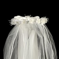 "White Organza Flowers Rhinestone Pearl Satin Bow Special Occasion 24"" Veil"
