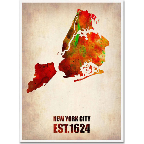 "Trademark Fine Art ""New York City Watercolor Map 2"" Canvas Art by Naxart"