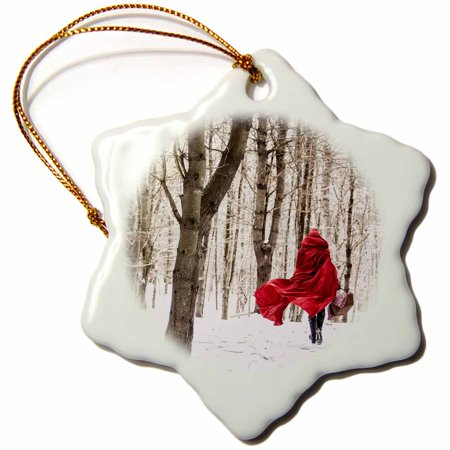 3dRose Little Red Riding Hood Fairy Tale Snowy Woods Winter Day Photo - Snowflake Ornament, 3-inch
