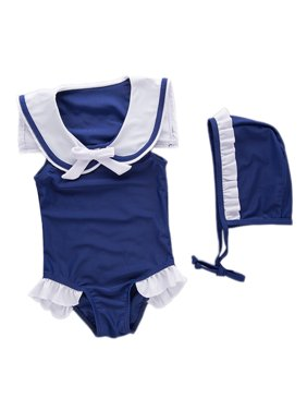 Baby Girls Sleeveless Navy Sailor Swimsuit And Hat 2-pc (7)