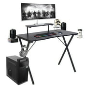 """X-Shaped Computer Gaming Desk Table with Hook and Cup Holder & 2 Audio Baskets, 39 """"L x 23.6"""" W x 29.5 """"H"""