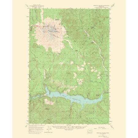 Mt St Helens Washington Map.Topographical Map Print Mt St Helens Washington Usgs 1968 23 X