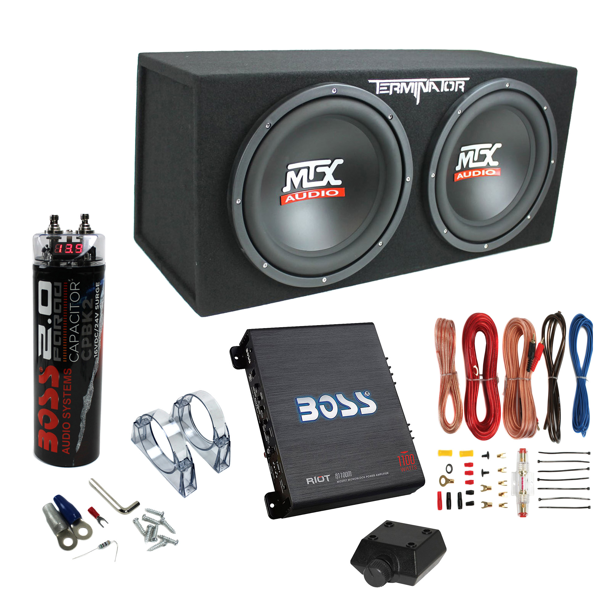 """MTX TNE212D 12"""" 1200W Dual Loaded Subwoofer Box + 1100W Amplifier + Capacitor"""