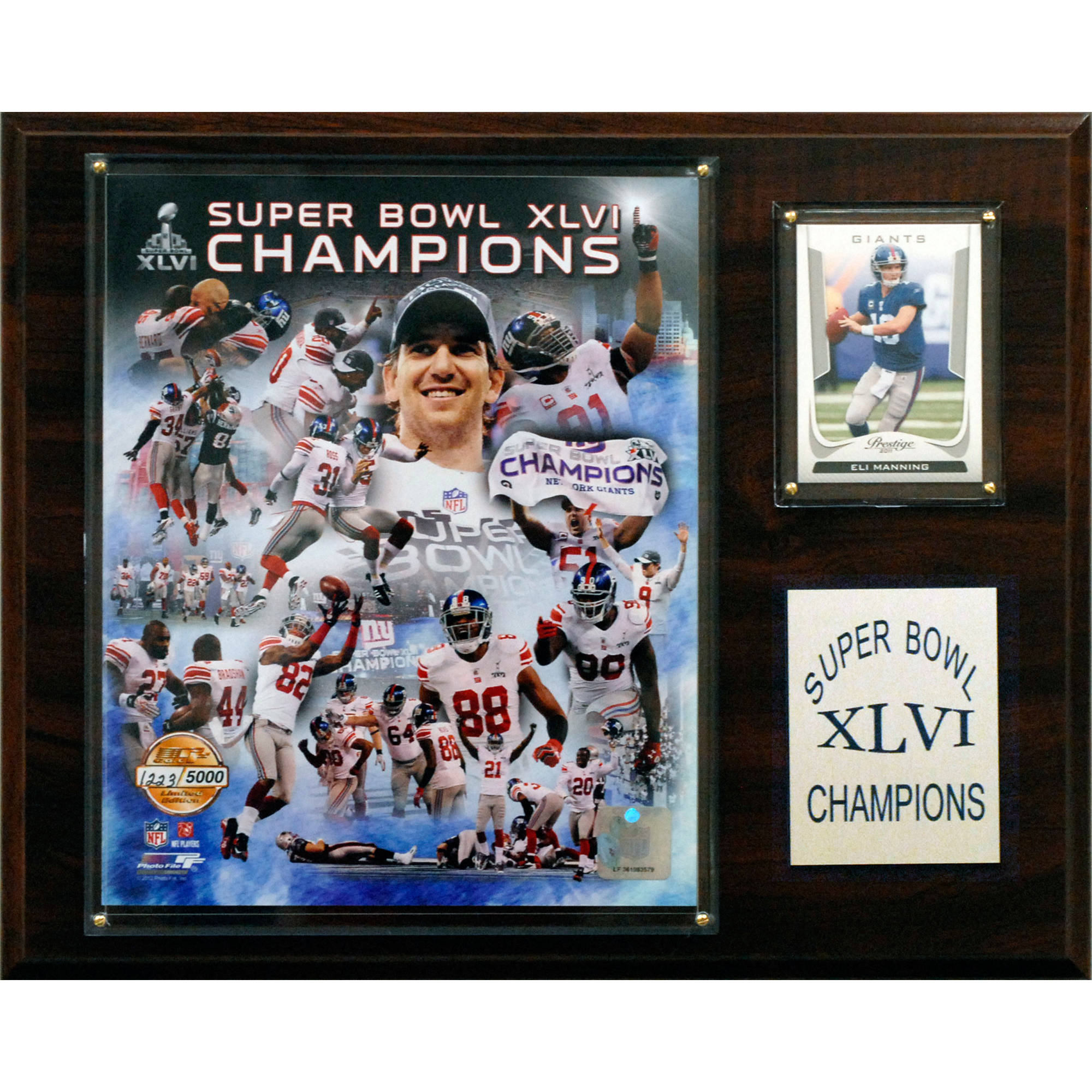 C&I Collectables NFL 12x15 New York Giants Super Bowl XLVI Champions Plaque, Gold Edition