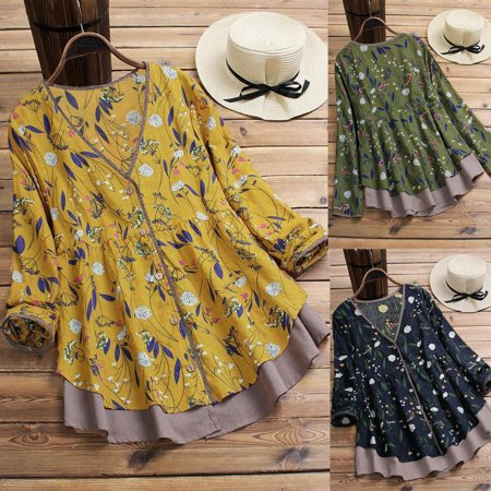 Women Casual Loose Pullover Floral T-Shirt Long Sleeve Swing Tops Tunic Blouse Swing Top Tee