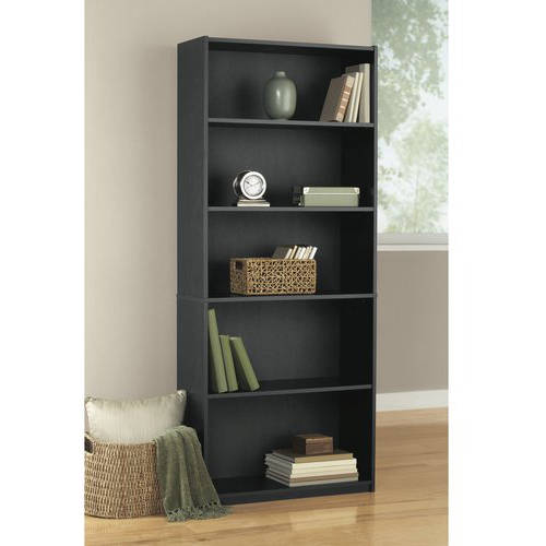 Mainstays 5-Shelf Wood Bookcase, Multiple Colors