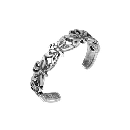 Sterling Silver Multi Butterfly Adjustable Toe Ring