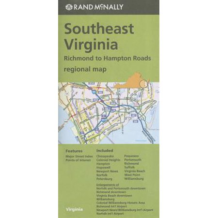 Rand mcnally southeast virginia regional map : richmond to hampton roads: (Map Of The Tidewater Region Of Virginia)