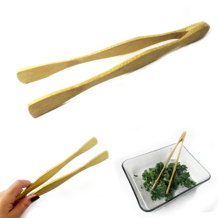 1 Bamboo Tongs Salad Chef Wooden Serving Utensil Toast Kitchen Eco Friendly