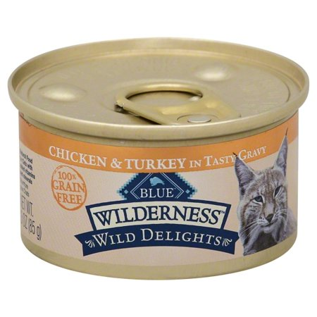 (24 pack) Blue Buffalo Wilderness Wild Delights High Protein Grain Free, Natural Adult Meaty Morsels Wet Cat Food, Chicken & Turkey, 3-oz, single can