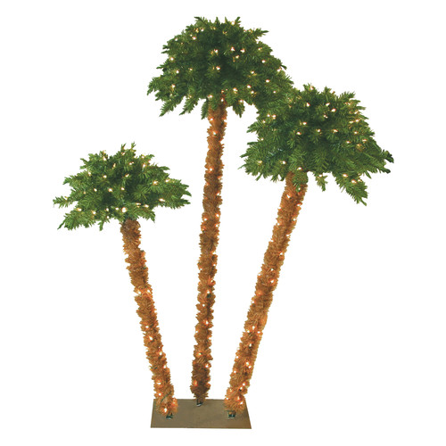 General Foam Plastics 6' Green Tropical Artificial Triple Headed Christmas Palm Tree with 350 Yellow Lights