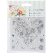 """Papermania Folk Floral Clear Stamps, 4"""" x 4"""""""