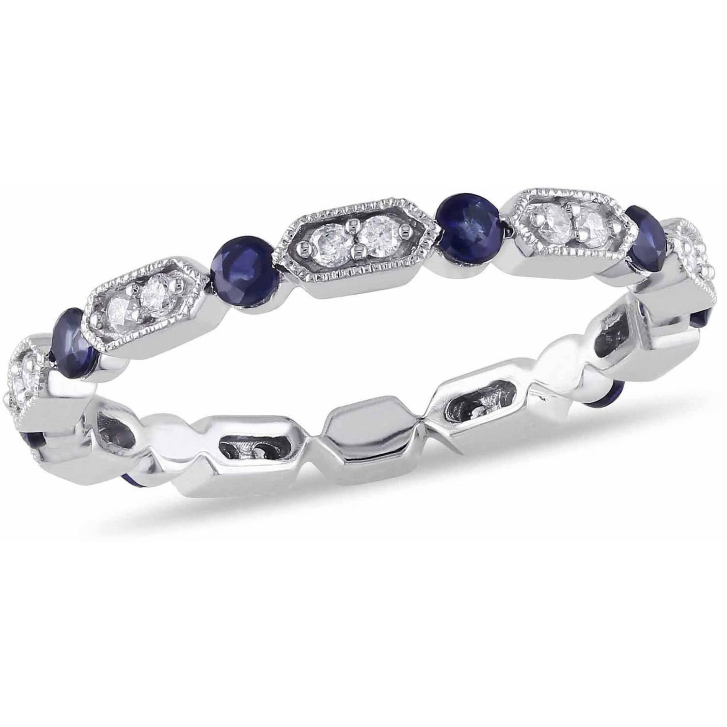 Tangelo 1/2 Carat T.G.W. Sapphire and 1/6 Carat T.W. Diamond 14kt White Gold Eternity Anniversary Ring