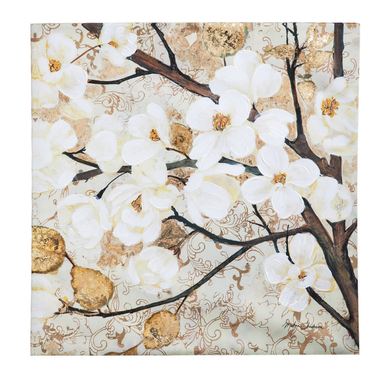 Floral 30x30 Wall Canvas with Gold Overpaint