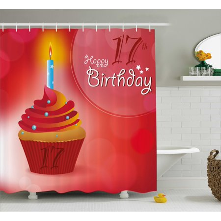 17th Birthday Decorations Shower Curtain, Sweet Seventeen Party Theme with Cupcake and Candle Image, Fabric Bathroom Set with Hooks, 69W X 70L Inches, Red and Vermilion, by Ambesonne (Cupcake Birthday Theme)