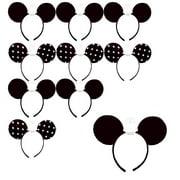 10 Pcs Minnie Mouse Ears Headbands Black White Polka Dot Mickey Costume Party