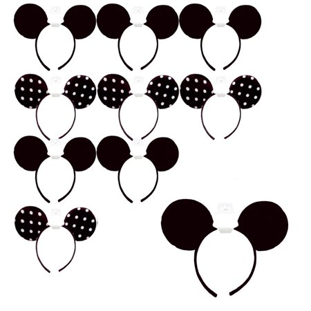 10 Pcs Minnie Mouse Ears Headbands Black White Polka Dot Mickey Costume Party