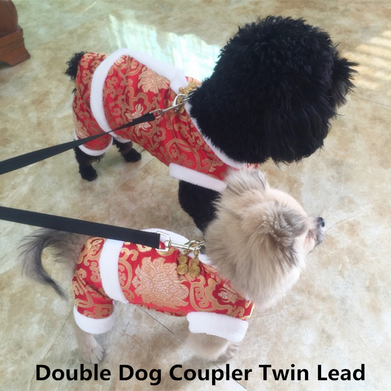 "19.69"" Polyester Duplex Double Dog Coupler Twin Lead 2 Way Two Pet Walking Leash Safety Multi Colors"