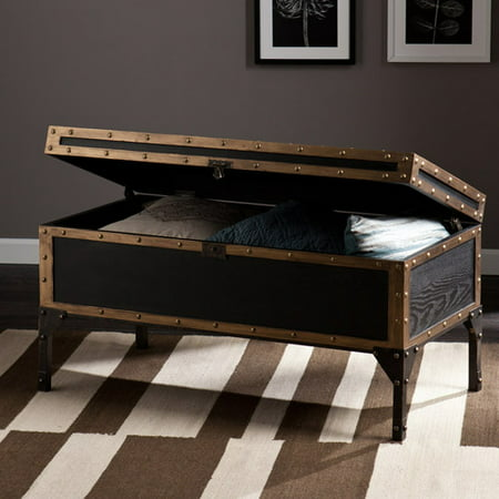 Charles Vintage Travel Trunk Coffee Table, Black and Bronze ()