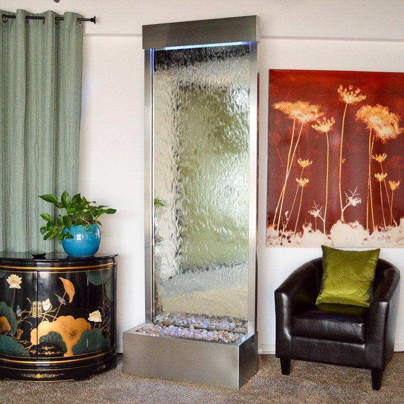 BluWorld Gardenfall 90 in. Indoor Outdoor Floor Fountain Silver Mirror by Bluworld HomElements LLC