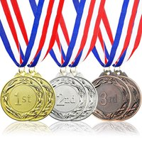 6-Piece Set Metal Olympic Style Award Medals With Ribbons In Gold, Silver, And Bronze