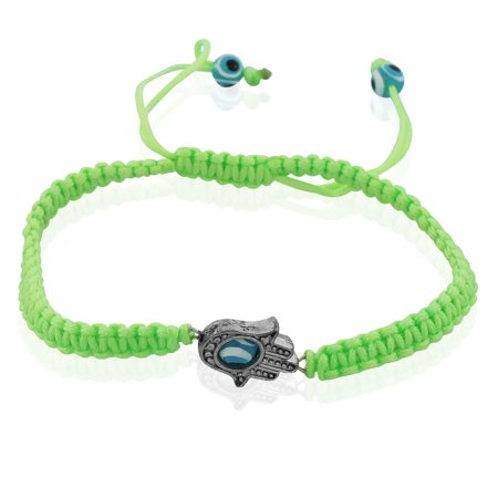 Fashion Alloy Cord Hamsa Evil Eye Protection Macrame Adjustable Bracelet