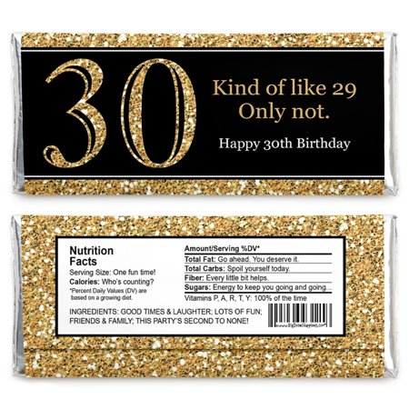 Adult 30th Birthday - Gold - Candy Bar Wrappers Birthday Party Favors - Set of 24
