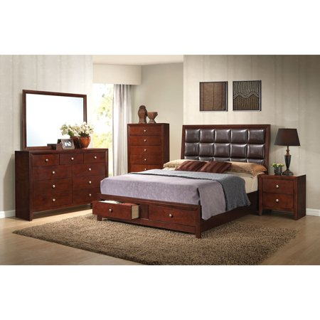 Acme Furniture Ilana Brown Cherry 4 Piece Storage Bedroom Set