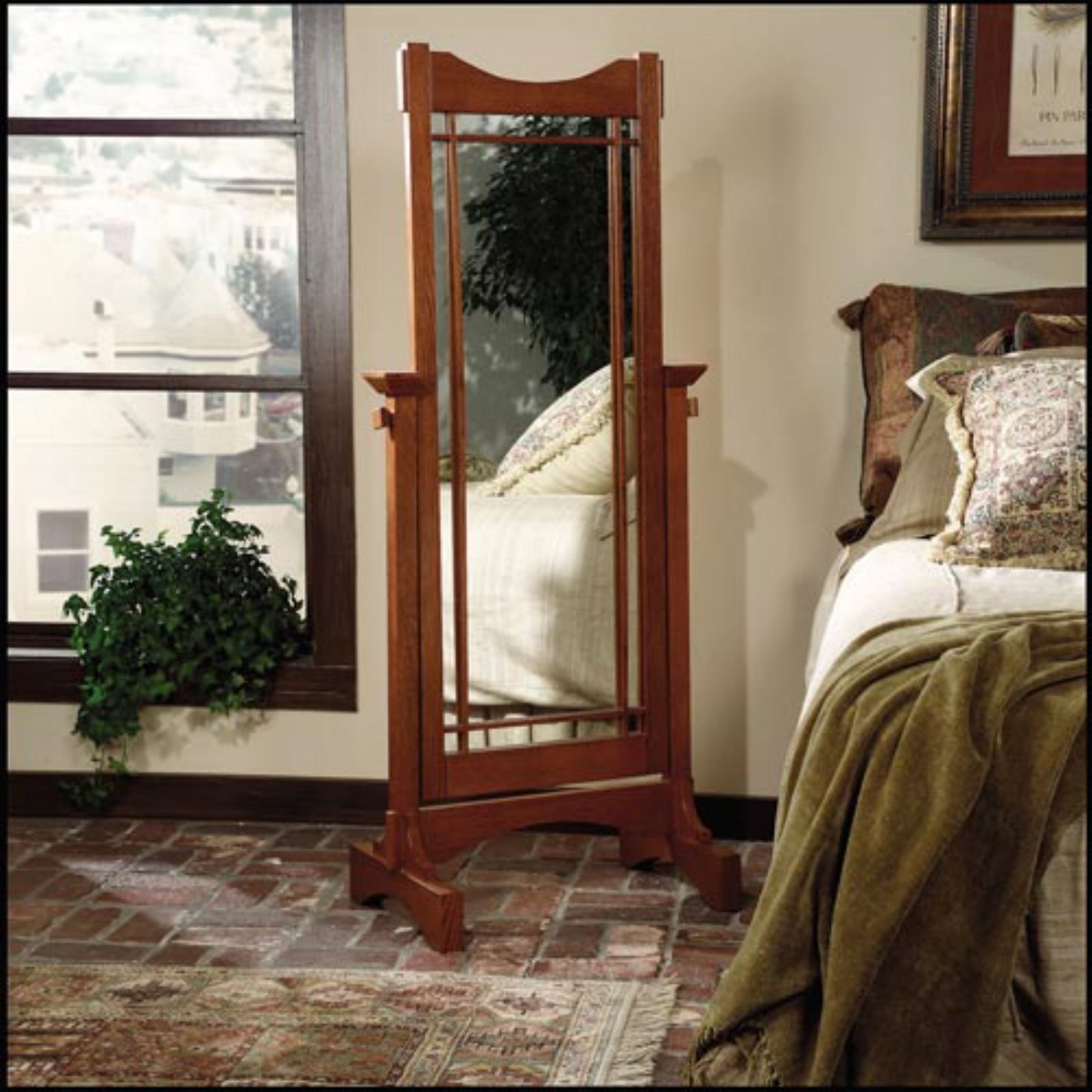 Cheval Mirror, Oak by Powell