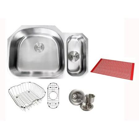 Contempo Living Inc Ariel Sharp Satin 32-inch Premium 16-gauge Stainless Steel Undermount 80/20 Offset D-bowl Kitchen Sink Accessories Kit - Ariel Premium
