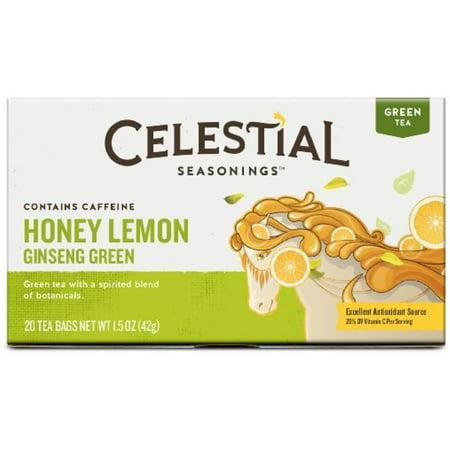 3 Pack - Celestial Seasonings Tea Honey Lemon Ginseng Green Tea 20 ea